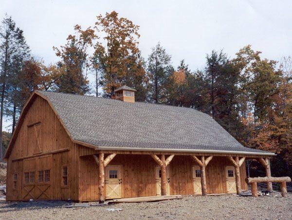 Gambrel pole barn interior photos gambrel frame horse for Gambrel style barn