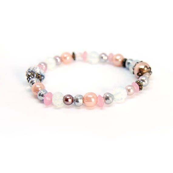 Chamane Bracelet élastique à perles nacrées et bronze