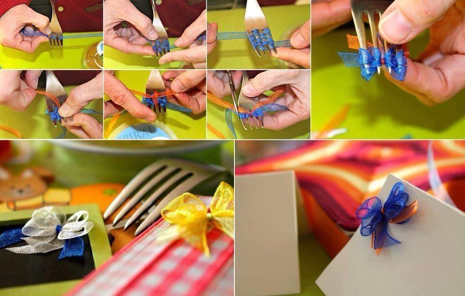 how to make a cute bow with just using a fork...thought you would like this @Julie McCombie