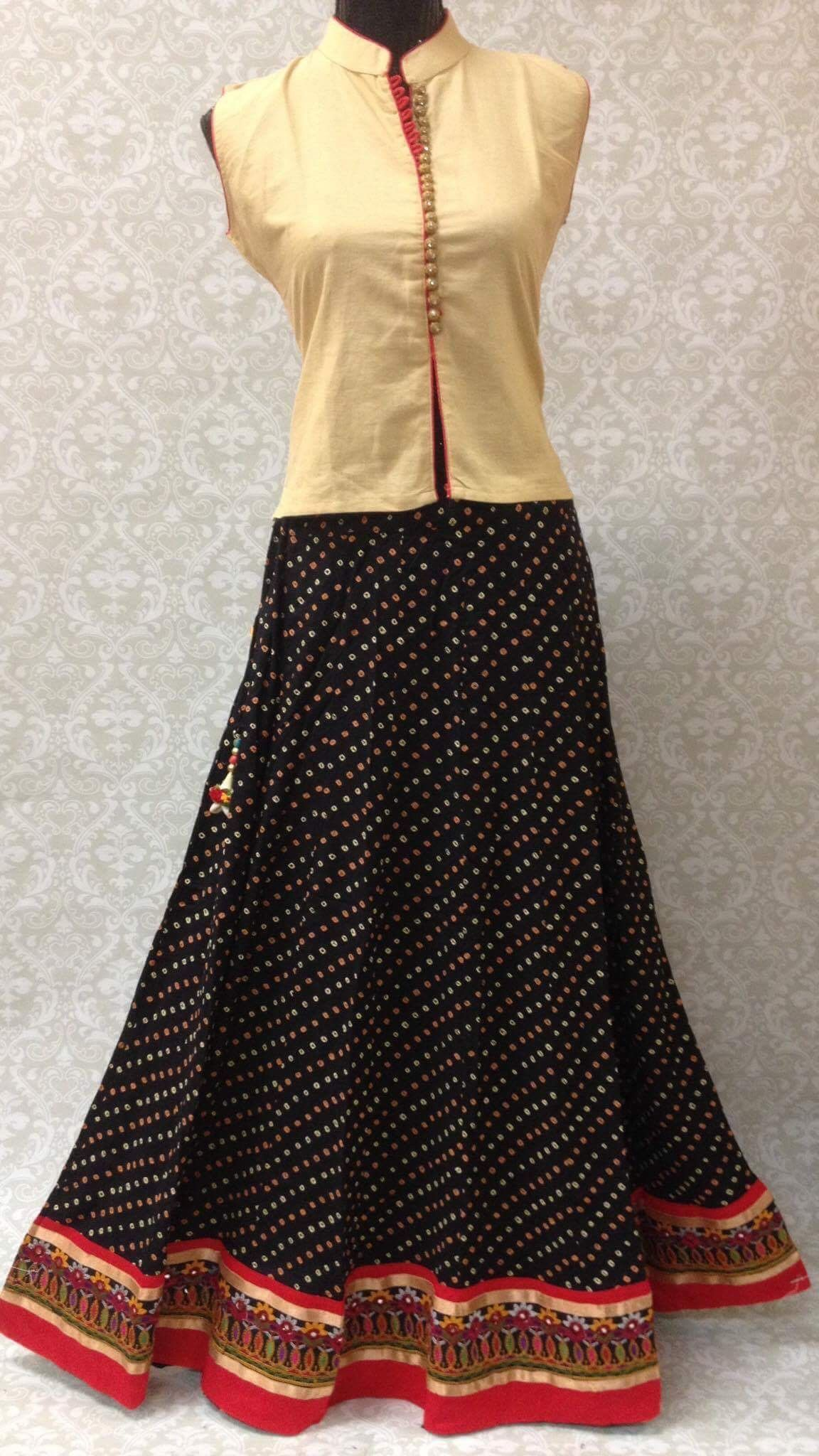 d6e404011b48 Beautiful long cotton bandhani skirt with Zari and multi colored border.A long  skirt enhances women's fashion. It is a versatile outfit and a must-have in  ...