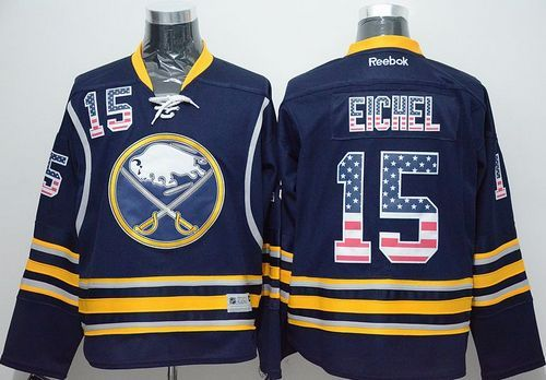 677a38719 Sabres  15 Jack Eichel Navy Blue USA Flag Fashion Stitched NHL Jersey