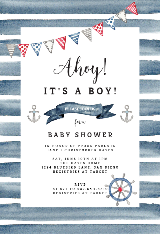 Watercolor Nautical Baby Shower Invitation Template Greetings Island Nautical Baby Shower Invitations Baby Shower Boy Invitations Free Printable Baby Shower Invitations
