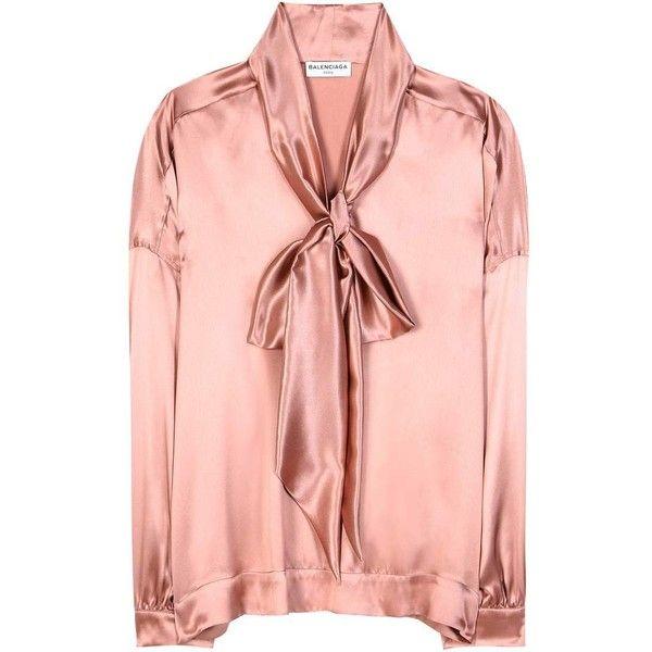 18fa94e068776b Balenciaga Satin Silk Blouse ($1,270) ❤ liked on Polyvore featuring tops,  blouses, shirts, pink, pink shirts, silk shirt, long length shirts, pink  silk ...