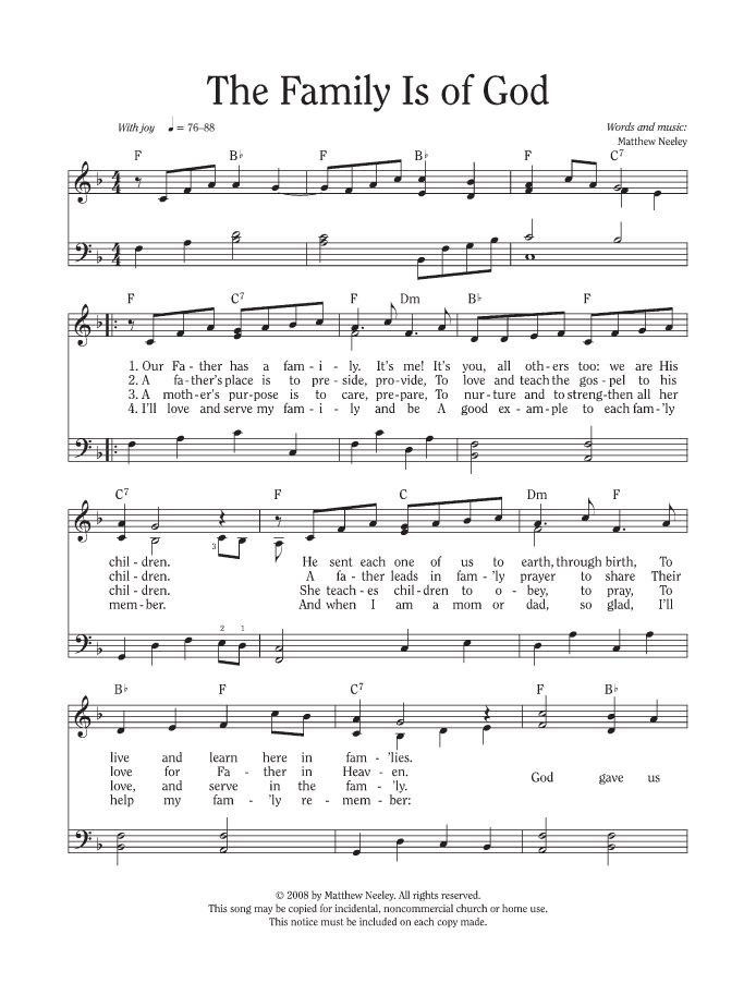 Lyric lyrics to family of god : The Family Is of God, music and lyrics | Family Home Evening Ideas ...