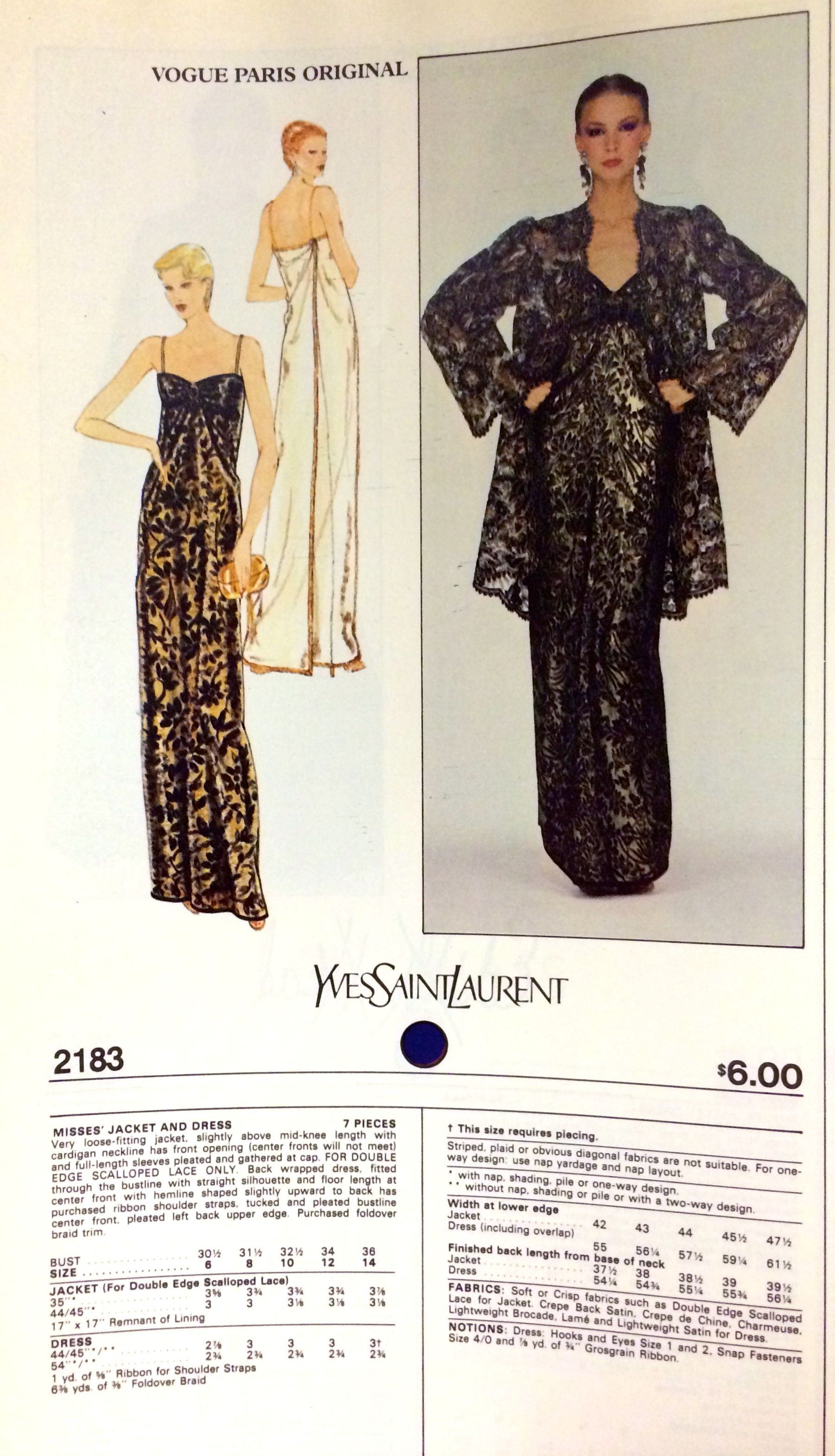 Yves Saint Laurent from the pages of Vogue Patterns catalogs. 1980 ...
