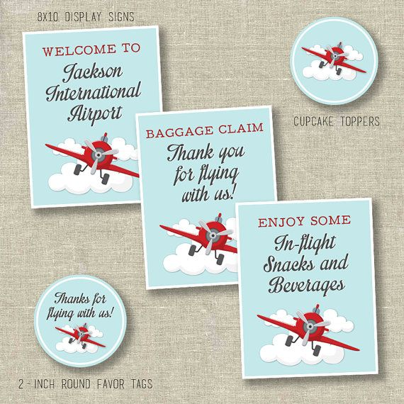 Airplane party package airplane ticket invitation by SweetfaceInk