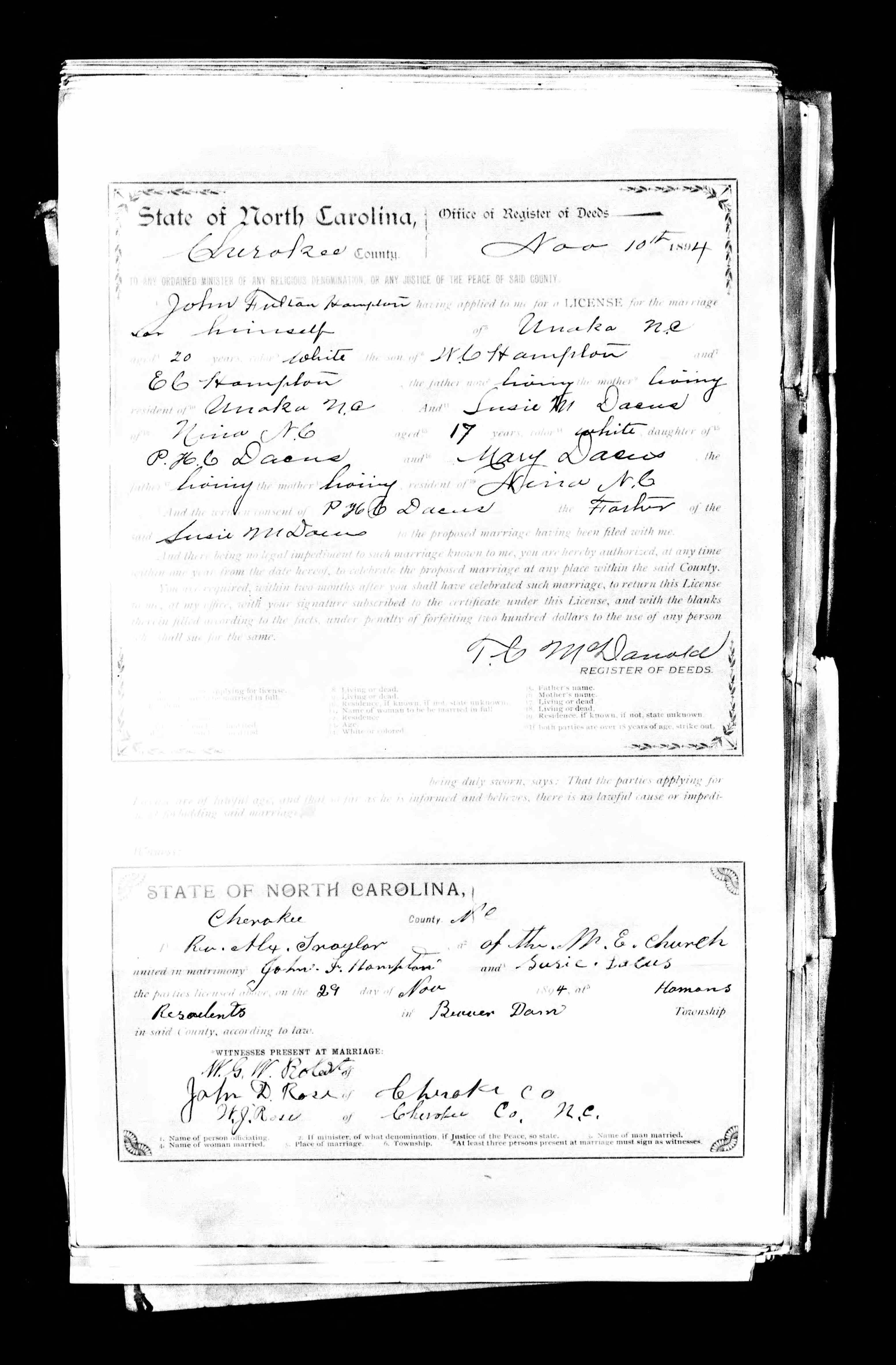 John Fulton Hampton discovered in North Carolina, Marriage