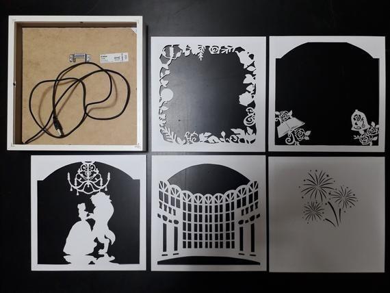 La Belle Et La Bete 9 X 9 Pouces Fichiers De Modele De Etsy Box Template Shadow Box Art 3d Paper Art