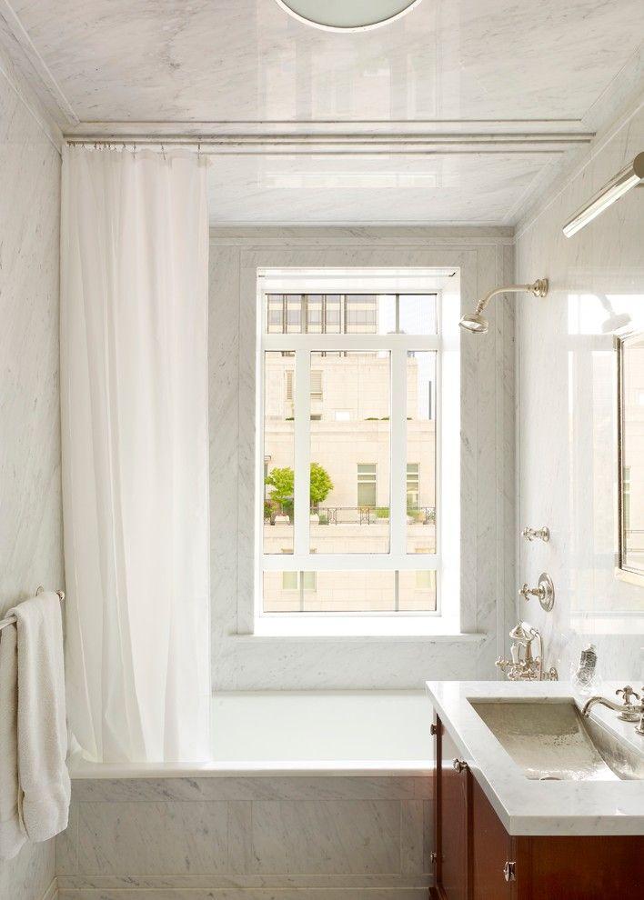 Ceiling Hung Shower Curtain Window Bathtub Storage Item
