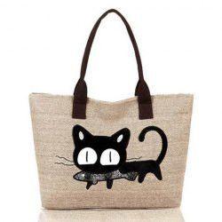 Casual Cat Print and Canvas Design Women's Shoulder Bag