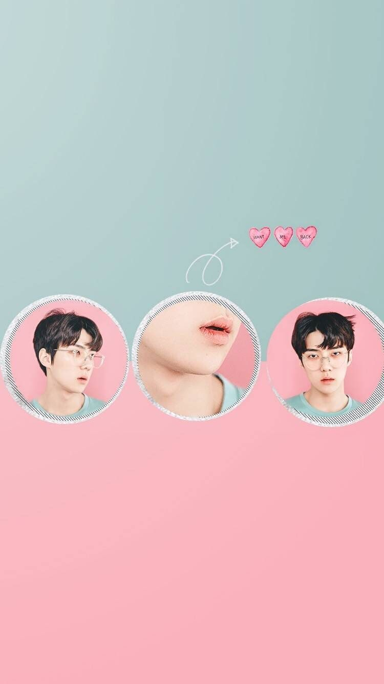 Sehun Exo Aesthetic Exol Exo L Kpop Idol Pink Blue Skyblue Edit Wallpaper Wallpaper Iphone Latar Belakang Suami