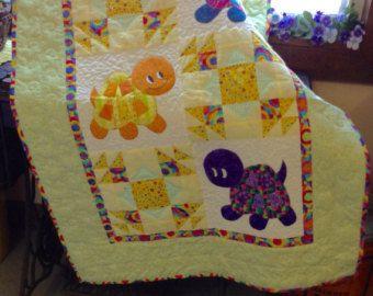 Kitten appliqued patchwork crib quilt   Purple, Quilt and Machine ... : handmade quilt sizes - Adamdwight.com