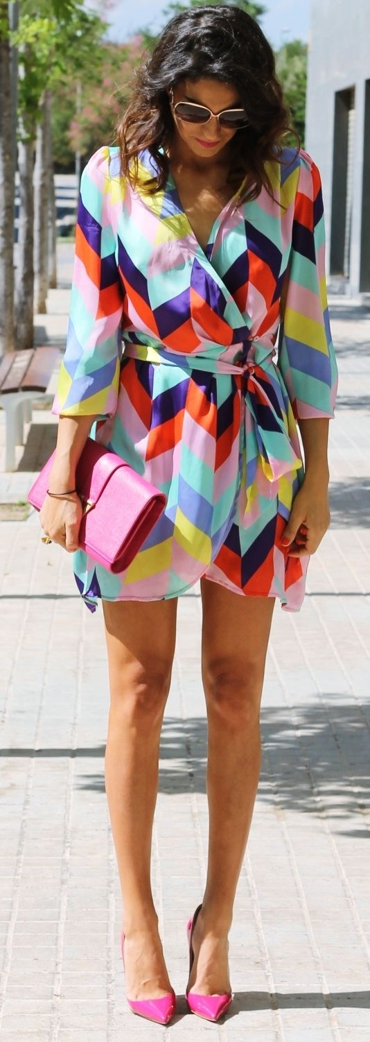 Be bold in a printed wrap dress the brighter the better