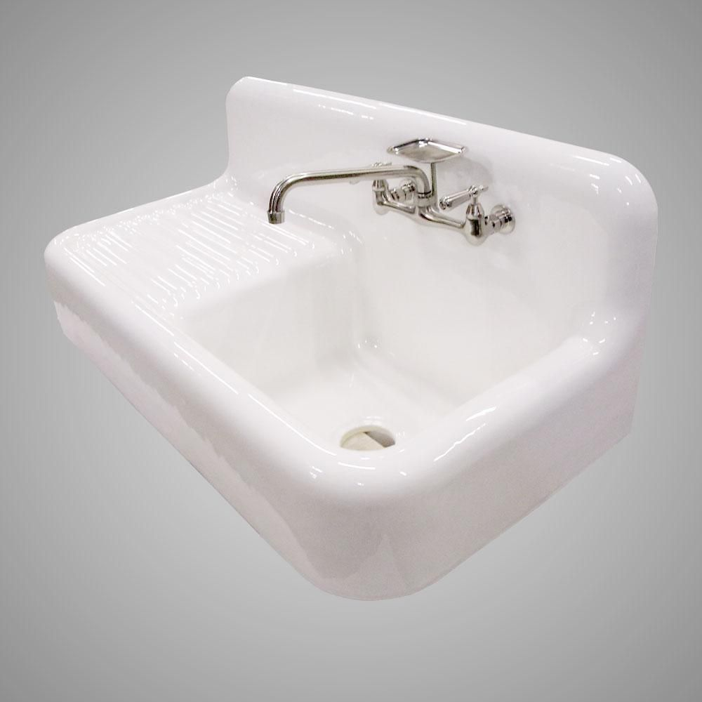 42 Sudbury Cast Iron Wall Hung Kitchen Sink With Left Side
