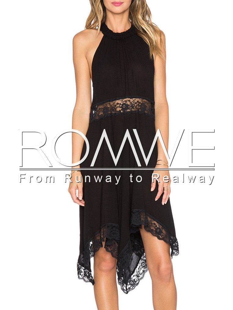 Black Sleeveless With Lace Asymmetric Dress