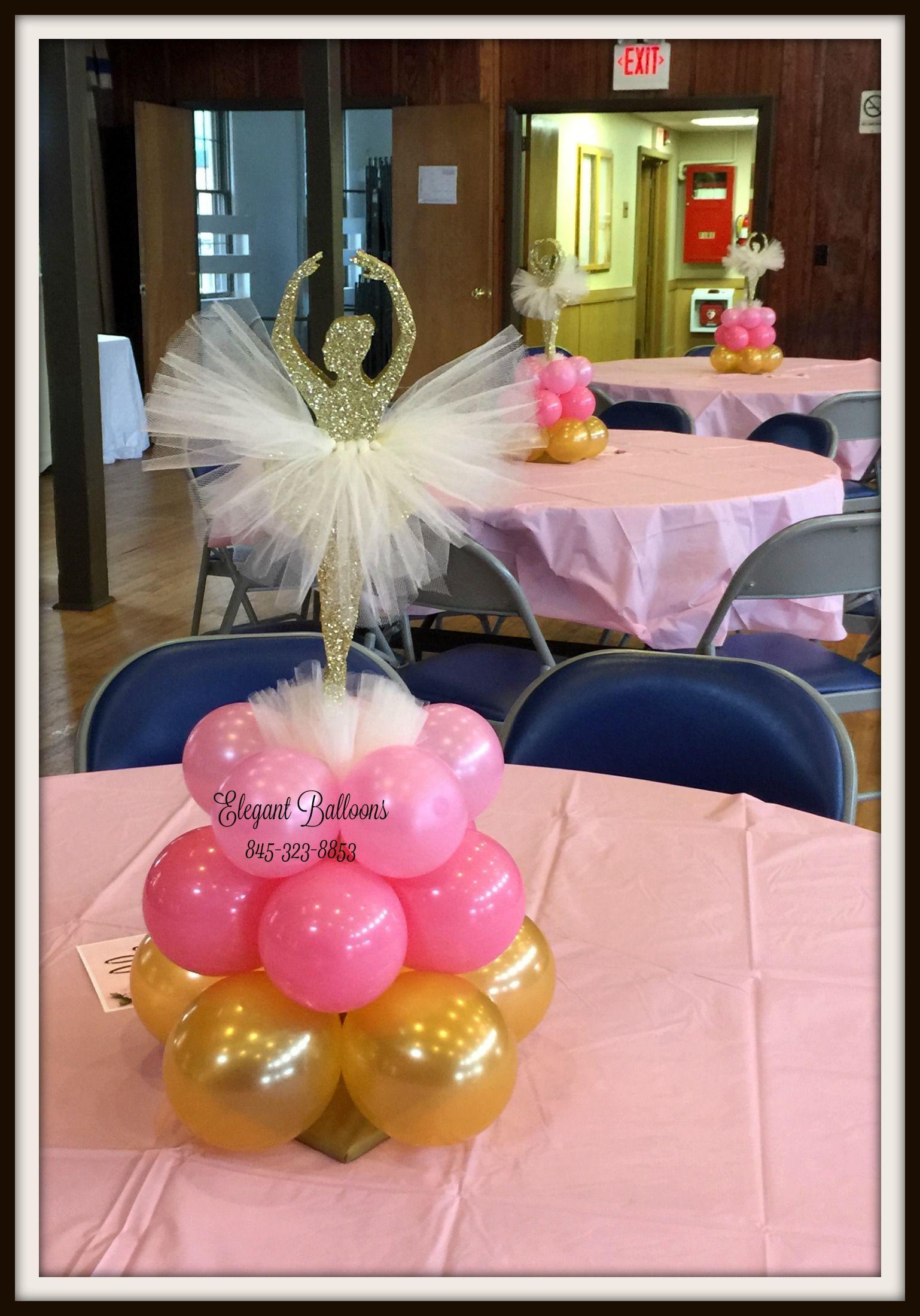 Ballerina First Birthday Balloons Centerpiece