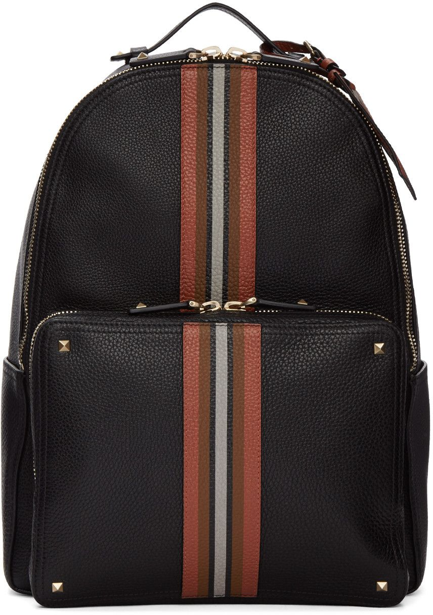 VALENTINO Black Rockstud Striped Backpack.  valentino  bags  lining   backpacks  suede 9482be4abad0d