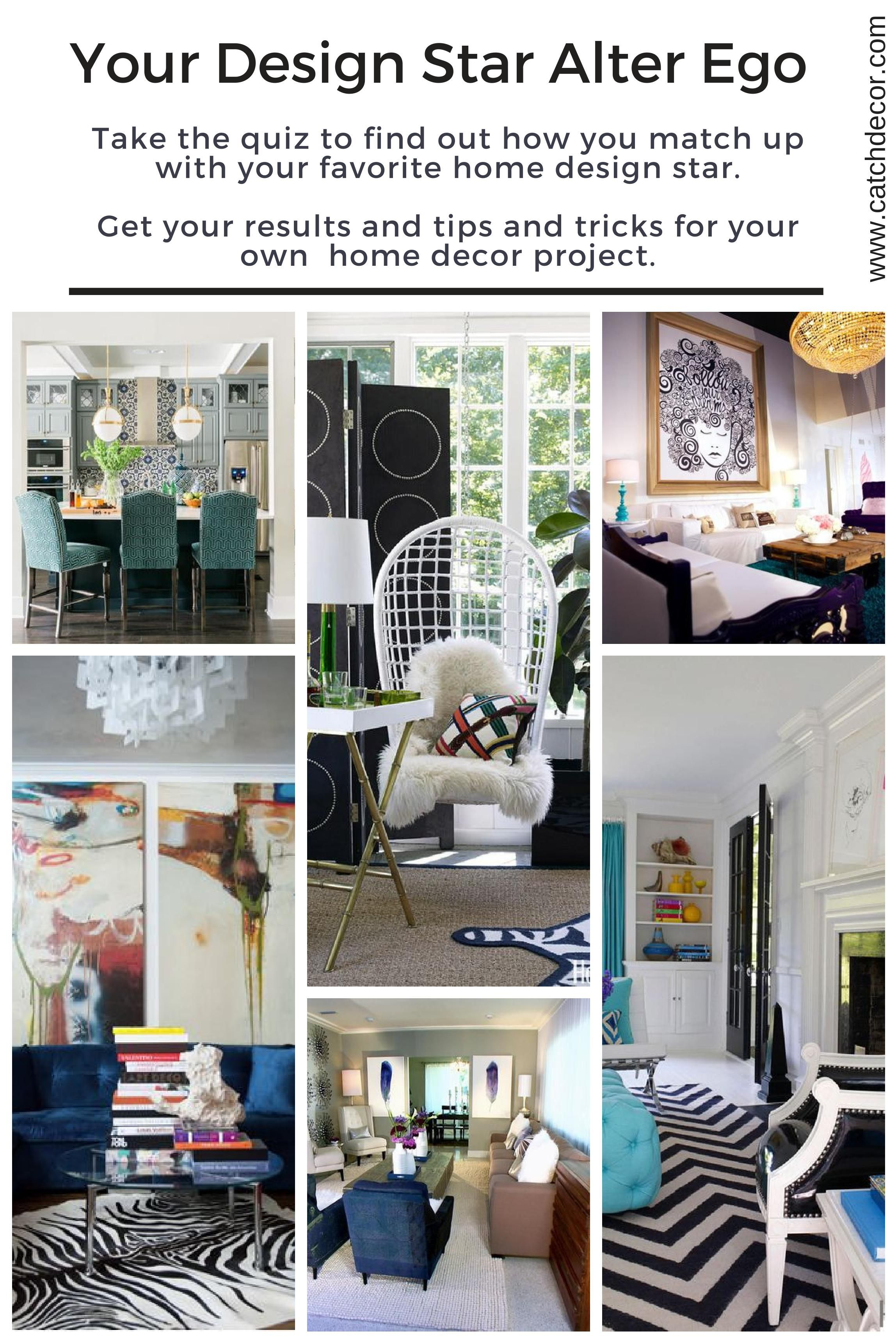 Take the quiz to see which design pro's style you most resemble.  These are top stars in the design world and represent a mix of styles.  Answer a few easy questions about your style and likes and dislikes to determine your match.  Your results will not only match you to your design star but also provide tips to help with your home decor challenges.    The celebrities include some of my favorite designers I go to for my own inspiration like Jonathan Adler, David Bromstad and Tiffany Brooks.