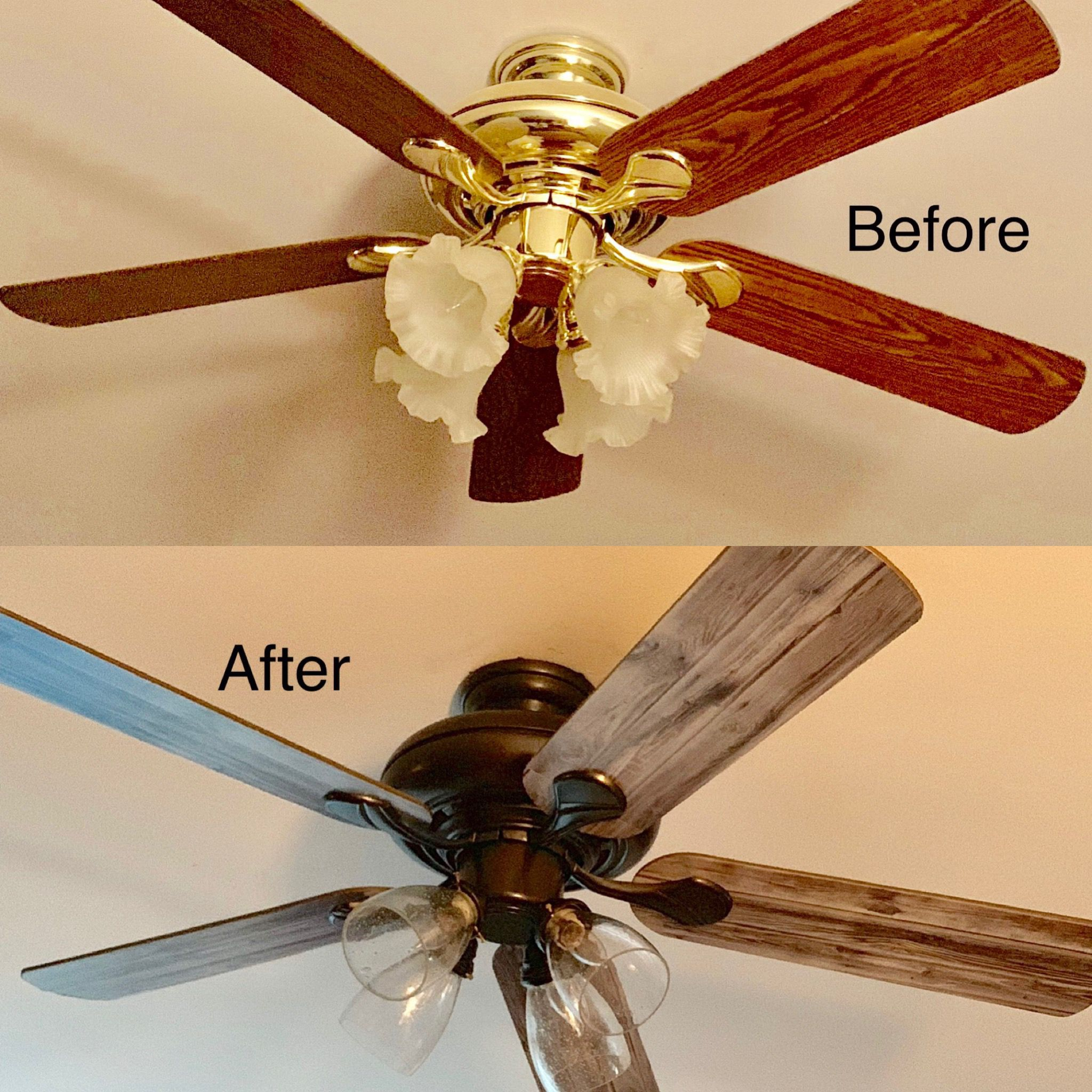 Ceiling Fan Makeover Sprayed With Oil