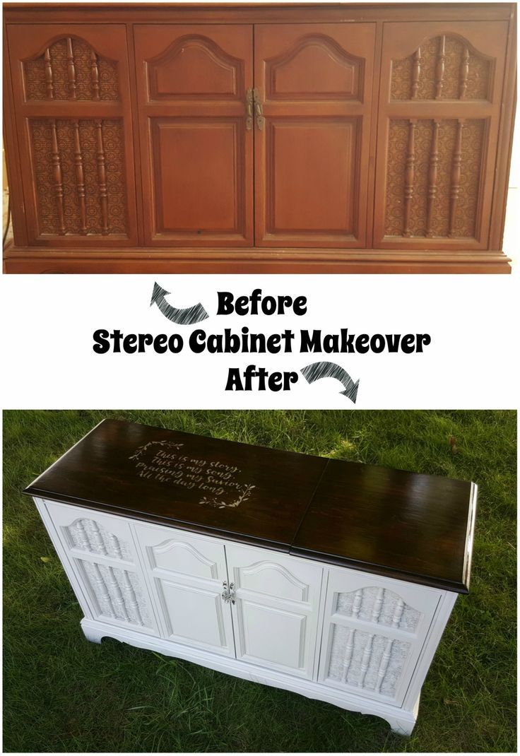 How To Refinish A Stereo Cabinet Using Stain And Stencil Stereo Cabinet Vintage Stereo Cabinet Stereo Cabinet Redo