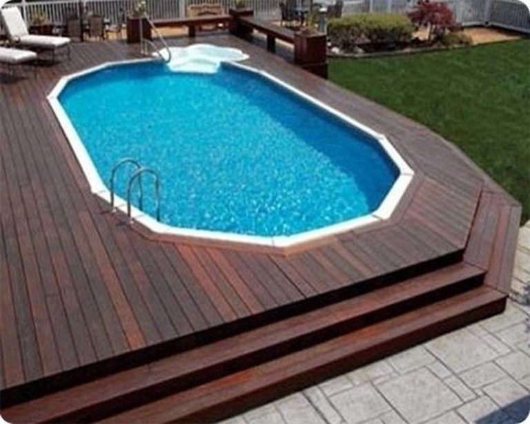 44 Pervect Wood Pool Decks For Above Ground Pool Ideas Page 11 Of 44 Wood Pool Deck Above Ground Pool Landscaping Backyard Pool
