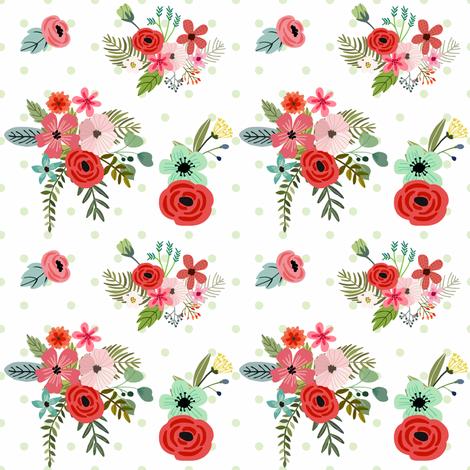 Floral Happy Green Polka  fabric by shopcabin on Spoonflower - custom fabric