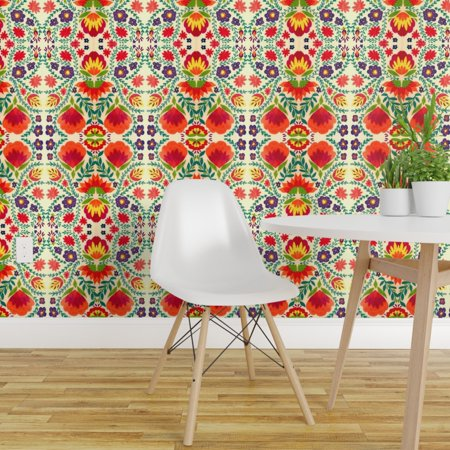 Peel And Stick Removable Wallpaper Mexico Embroidery Folk Floral Walmart Com Removable Wallpaper Wallpaper Textured Walls