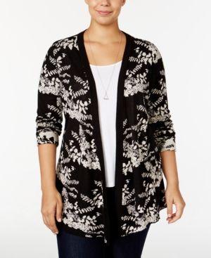 15a3438ddcc56 Belldini Plus Size Jacquard-Knit Floral Cardigan - Black 1X