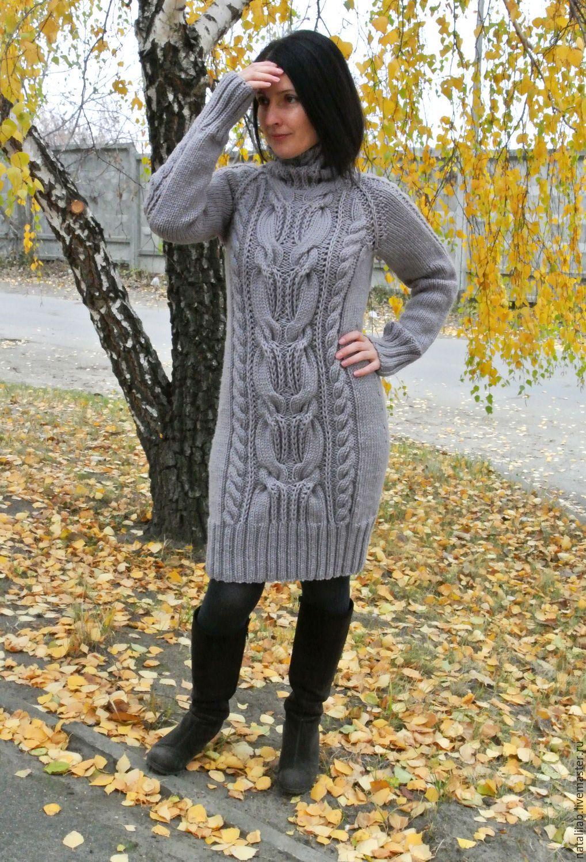 """Купить Платье """"Джулия"""" - серый, свитер, платье, бохо, теплый, уютный, косы, жгуты, городской"""