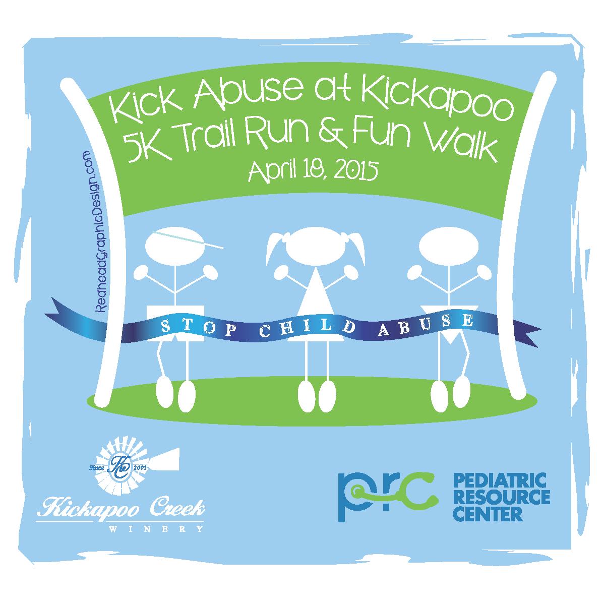 Join us at Kick Abuse at Kickapoo 5K Trail Run and Fun Walk!  You can make a difference!!