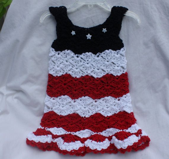 4th of July crocheted baby girl dress patriotic | Kinderkleidung ...