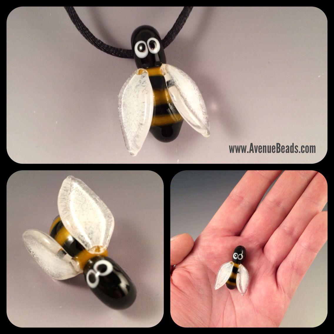Bumble bee glass bead