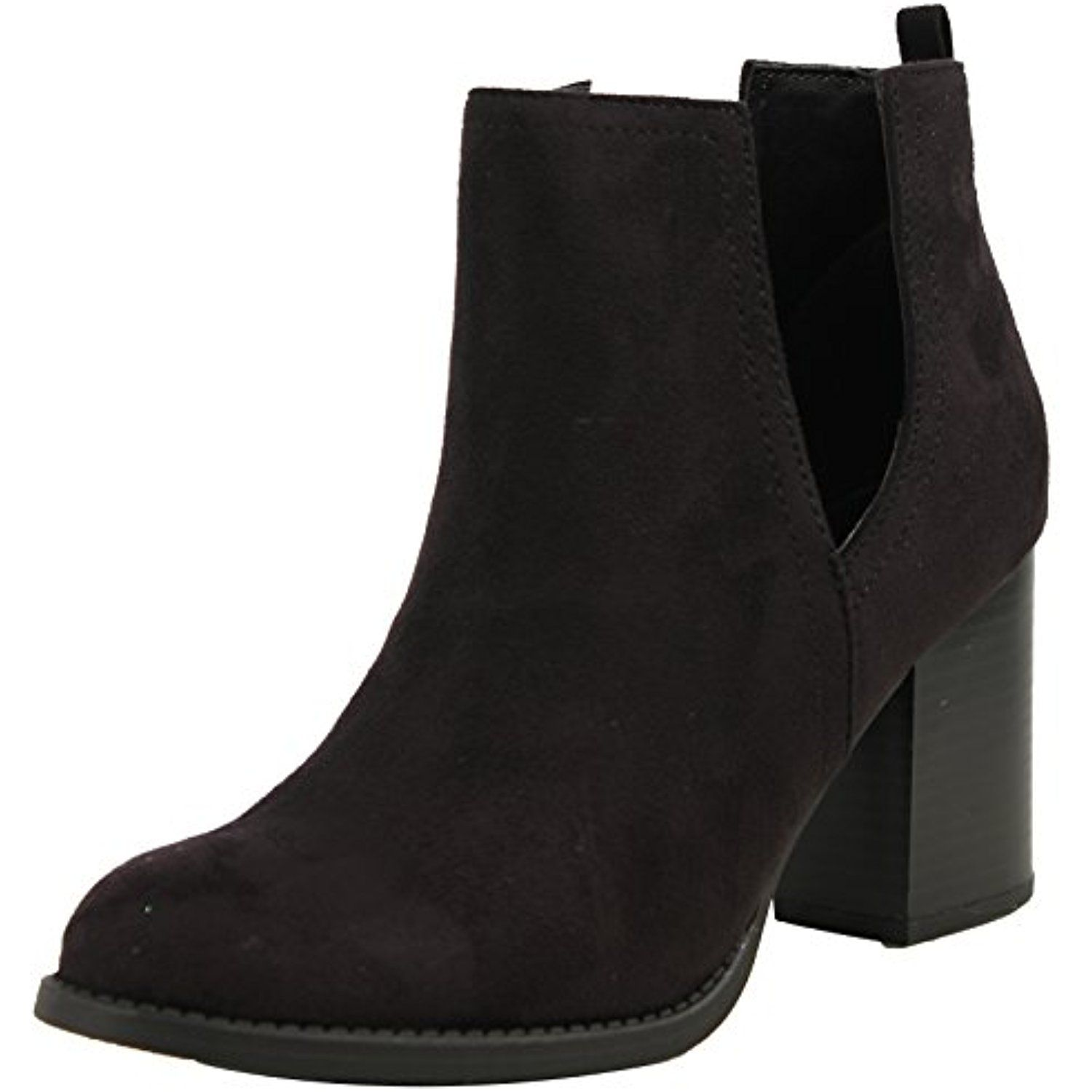 Women's Faux Suede Close V Cutout Side Stacked Chunky Heel Pull on Tab Ankle Bootie