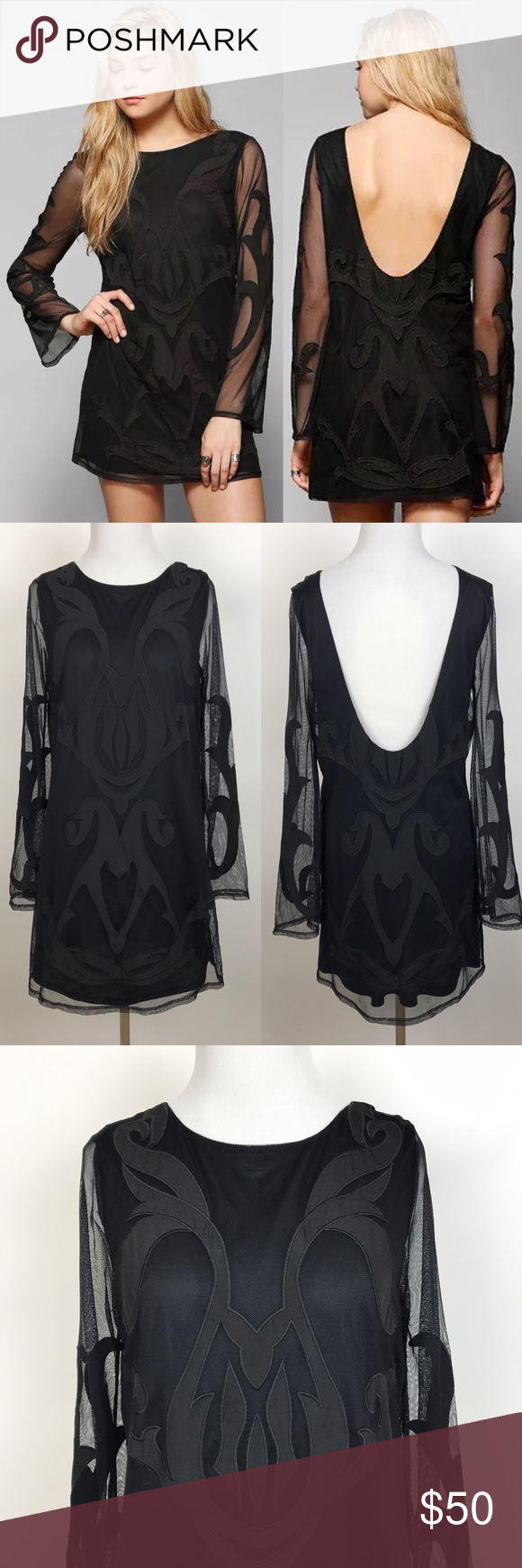 Stone cold fox black mesh embroidered dress nwot ninas by stone