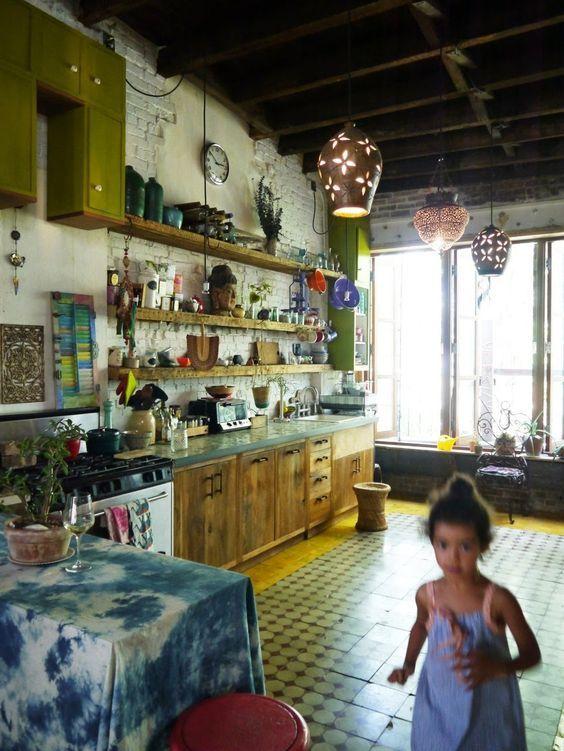 cocina bohemia verde cocinas originales pinterest bohemio verde y cocinas. Black Bedroom Furniture Sets. Home Design Ideas