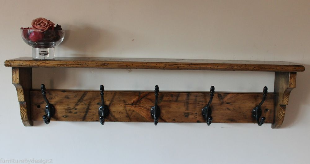 Victorian Coat Rack Shelf Hand Made From Reclaimed Pine