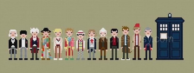 Doctor Who Cross-Stitch with All of the Doctors