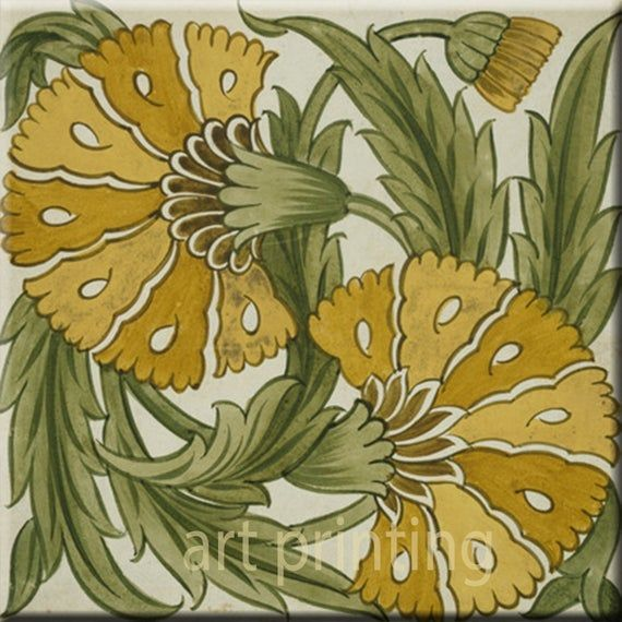William de Morgan reproduction decorative fireplace Ceramic wall tile 4.25 X 4.25 or 6 x 6 Inches #17