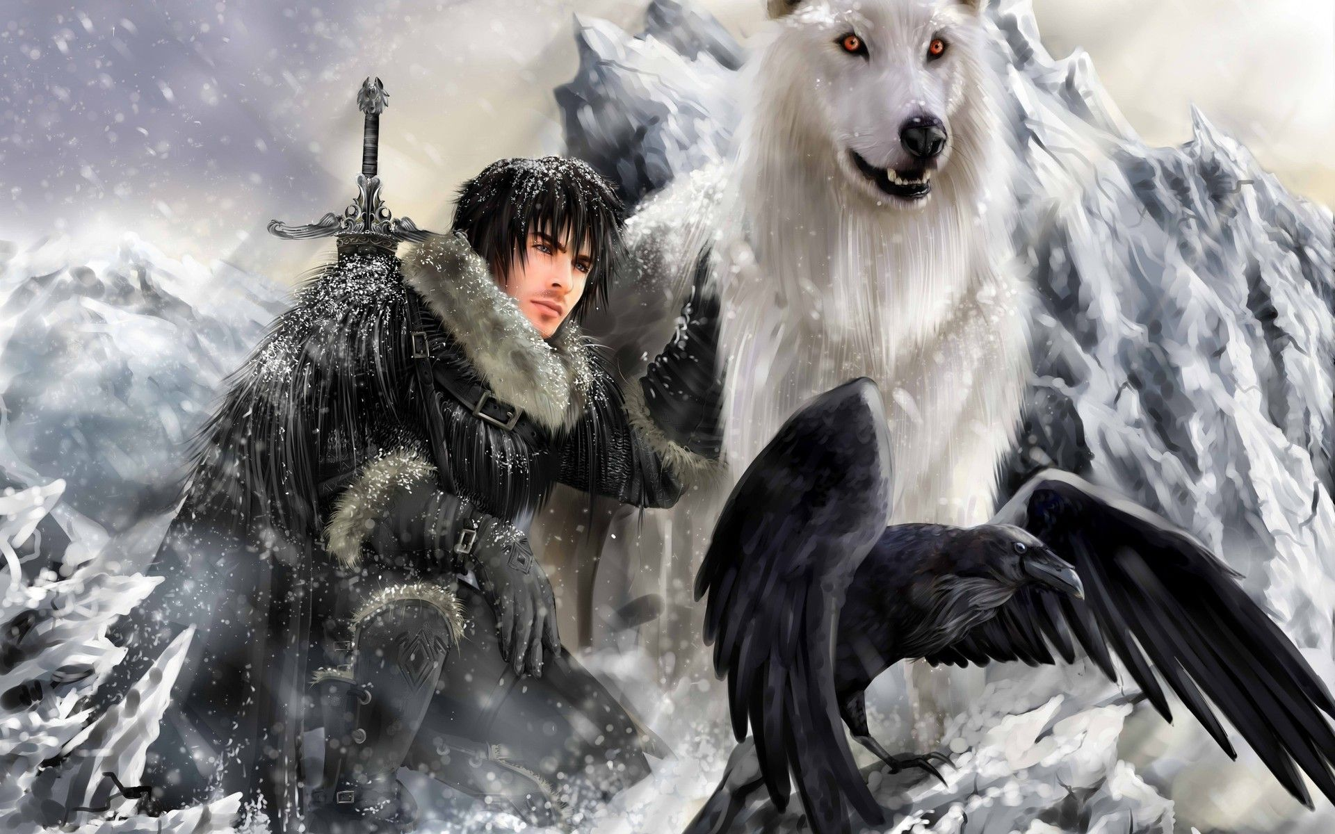 Jon Snow And Ghost Wallpaper 5047 Jonsnow Ghost Fantasy