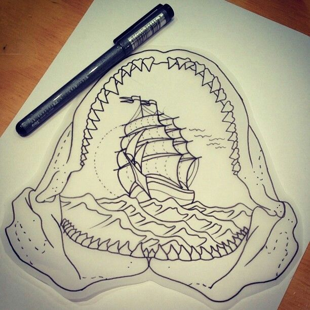 Jaw Line Tattoos: Shark Jaws Tattoo Drawing (With Images)