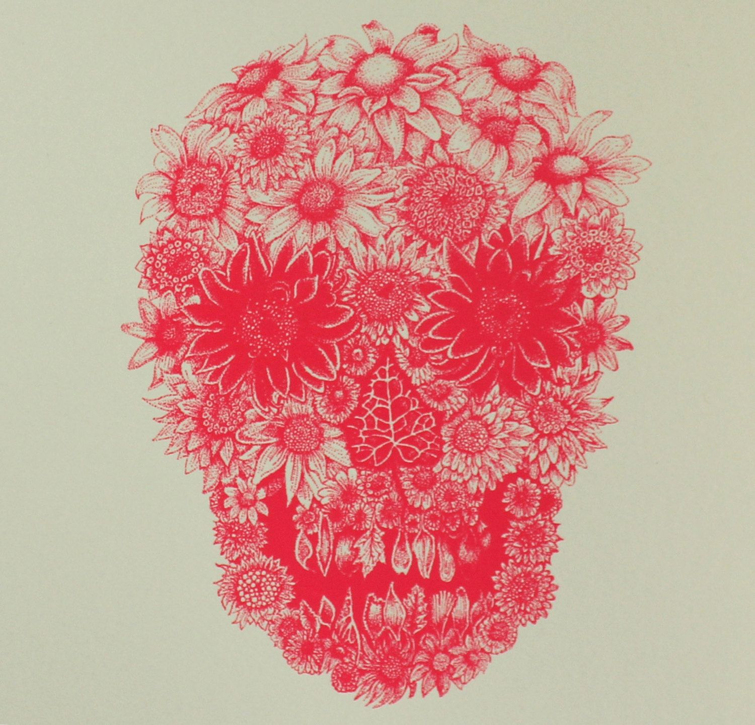 Flower skull google search skin art and other forms pinterest items similar to neon pink flower skull greeting card from illustrator izzie klingels on etsy mightylinksfo