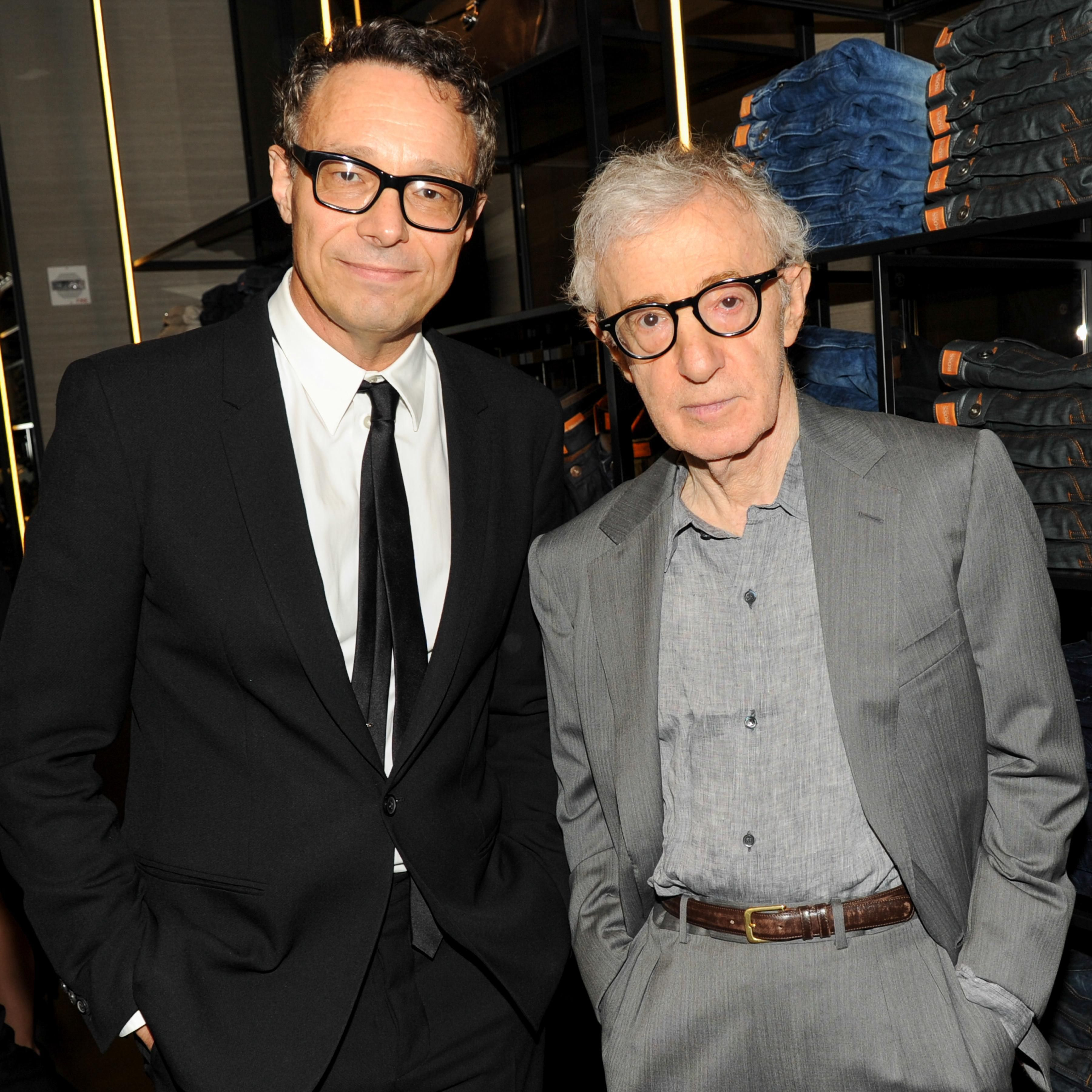 Video artist Marco Brambilla with Woody Allen at the opening event of the #BOSS Store Columbus Circle #HBNYC