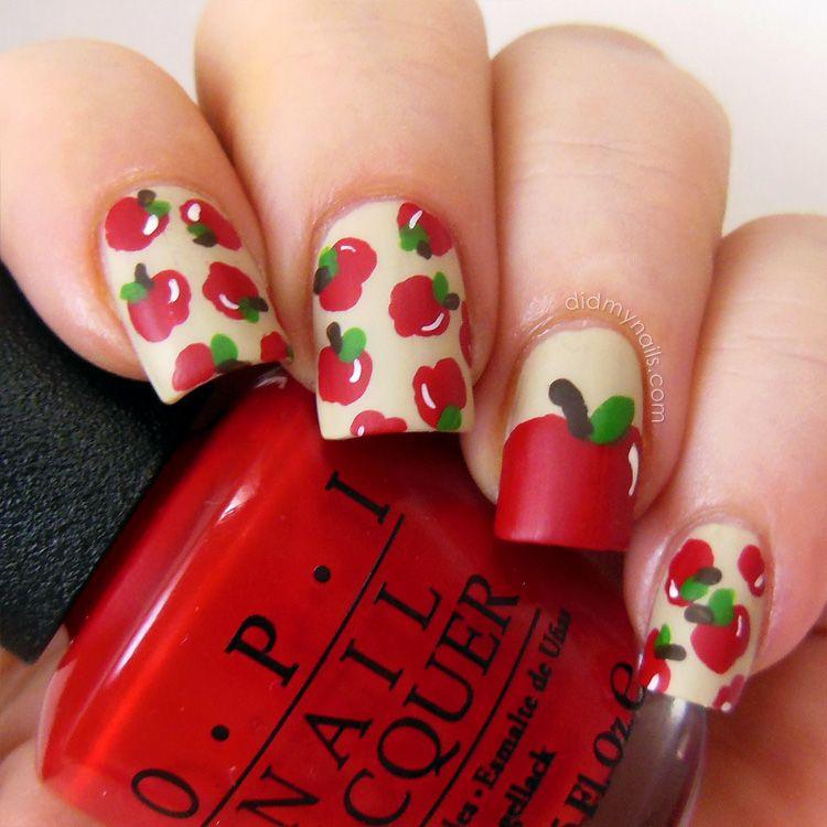 """apple nail art """" nails."""""""