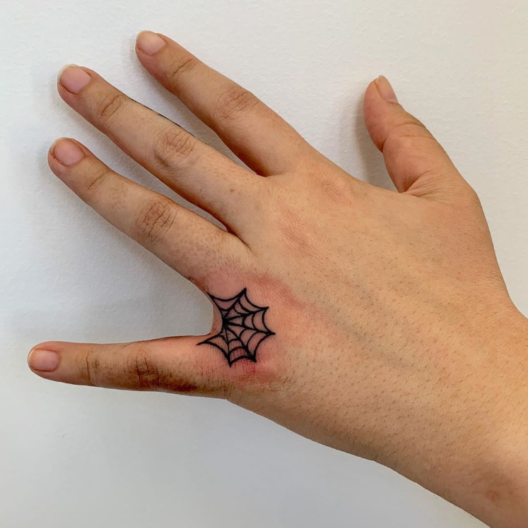 Rate This Small Spider Web Tattoo 1 To 100 Web Tattoo Spider Web Tattoo Finger Tattoos
