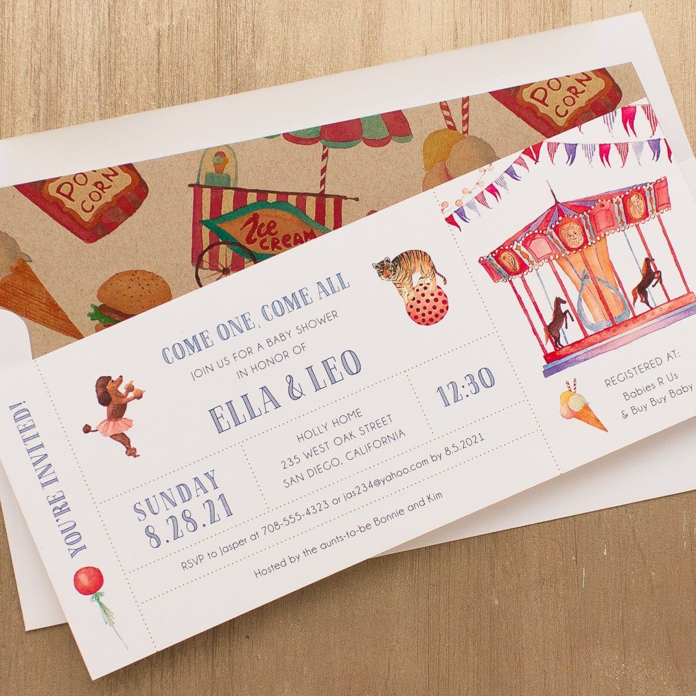Circus Time Baby Shower Invites With Envelope Liners | Babies