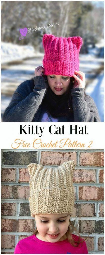 21+ Ideas Crochet Cat Hat Pattern Kitty | Crochet cat hat ...