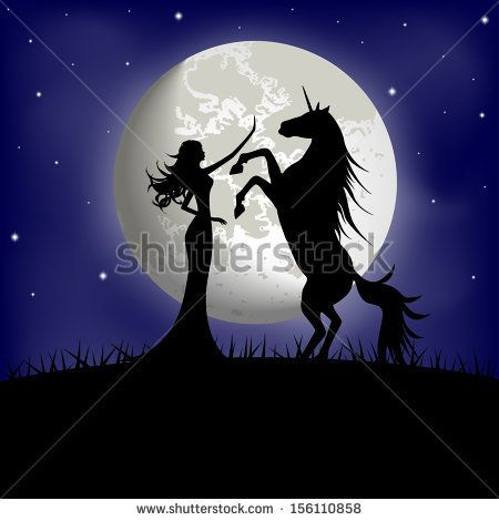 Silhouette of beautiful girl and unicorn on a background of the night sky  - stock vector