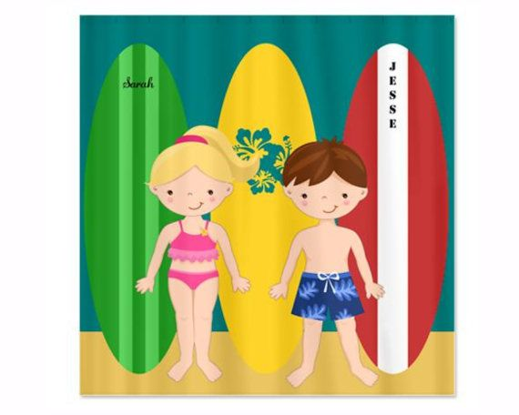 Vintage Surfboards With Boy And Girl Personalized Shower Curtain