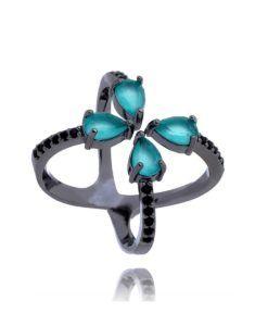 anel design arrojado rodio negro com zirconias turmalina leitosas ... dcb197a54f
