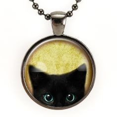 Peeking Black Cat Necklace In Gunmetal Black